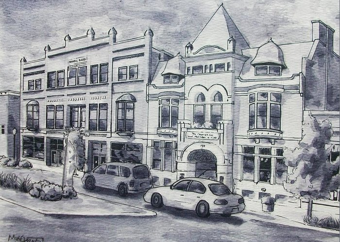 Art & Collectibles Drawing & Illustration Pen & Ink Century Club Russell Block Architecture Shop Together Rising Muskegon Michigan Historic Building Streetscape Victorian Building Western Avenue Downtown Street Modern Home Decor Memories Of Home Greeting Card featuring the painting Western Avenue In Muskegon, Michigan by Mike Kraus