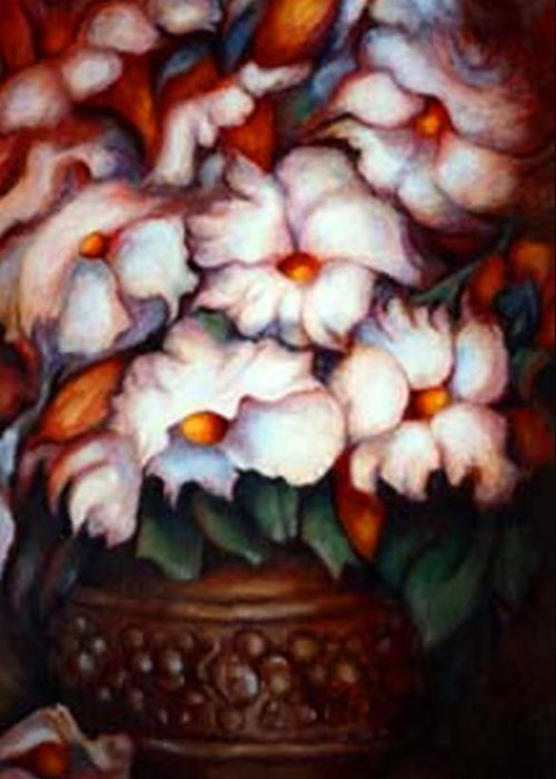 Flower Artwork Greeting Card featuring the painting Western Flowers by Jordana Sands