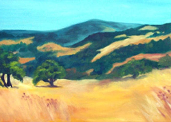 Landscape Greeting Card featuring the painting Western Hills by Anne Trotter Hodge