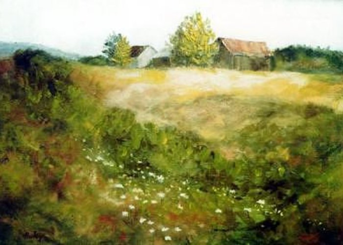 Farm Flower Greeting Card featuring the painting Western New York by Helen Hickey