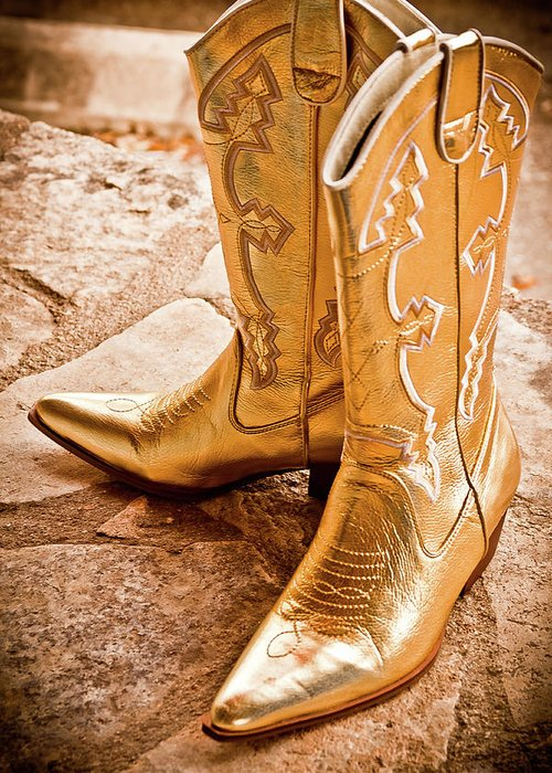 Gold Lame Boots Greeting Cards