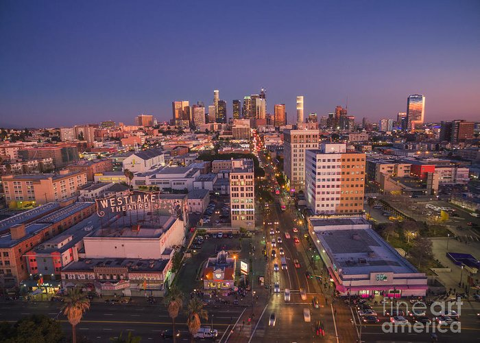 Los Angeles Greeting Card featuring the photograph Westlake Los Angeles Aerial by Konstantin Sutyagin