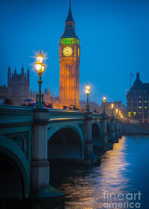 Big Ben Greeting Card featuring the photograph Westminster Bridge At Night by Inge Johnsson