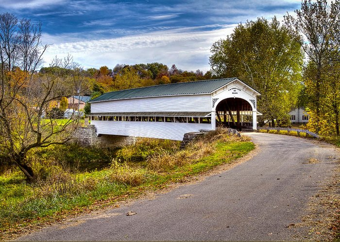 Jack R Perry Greeting Card featuring the photograph Westport Covered Bridge by Jack R Perry
