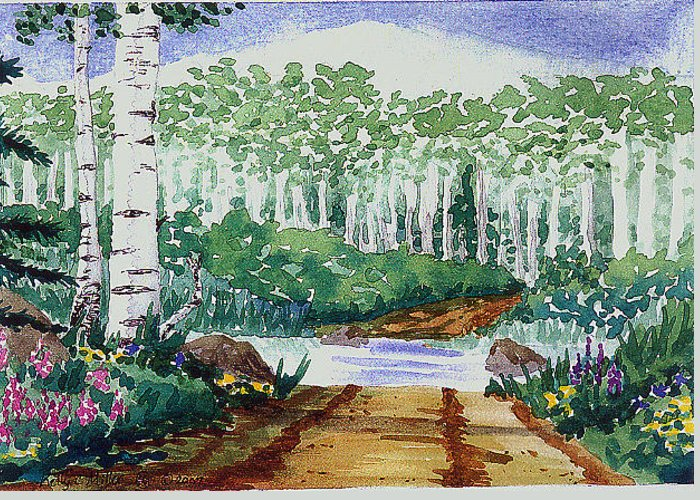 Mountain Greeting Card featuring the painting Wet Crossin by Kelly Miller