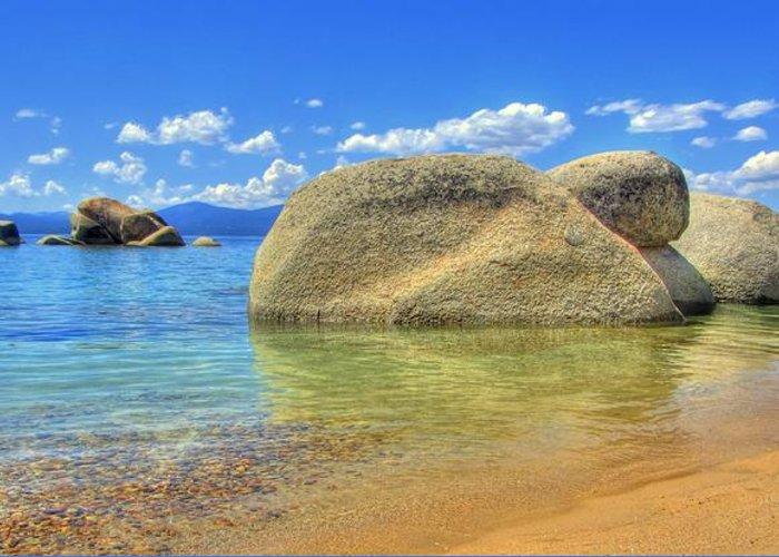 Whale Beach Greeting Card featuring the photograph Whale Beach Lake Tahoe by Brad Scott