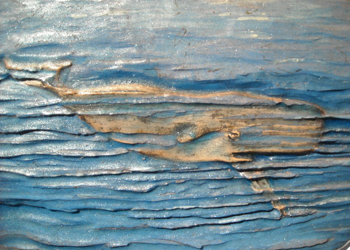Whale Greeting Card featuring the ceramic art Whale by Doris Lindsey