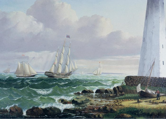 Whalers Greeting Card featuring the painting Whalers Coming Home by American School