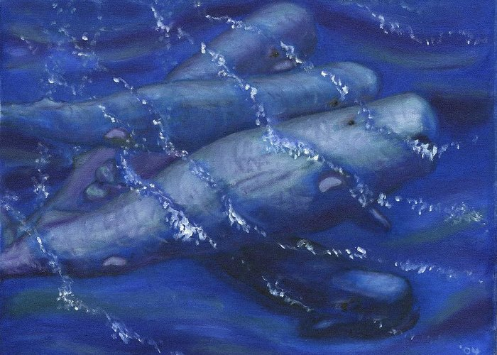 Whales Greeting Card featuring the painting Whales under the Surface-Is that Moby Dick on the Bottom by Tanna Lee M Wells