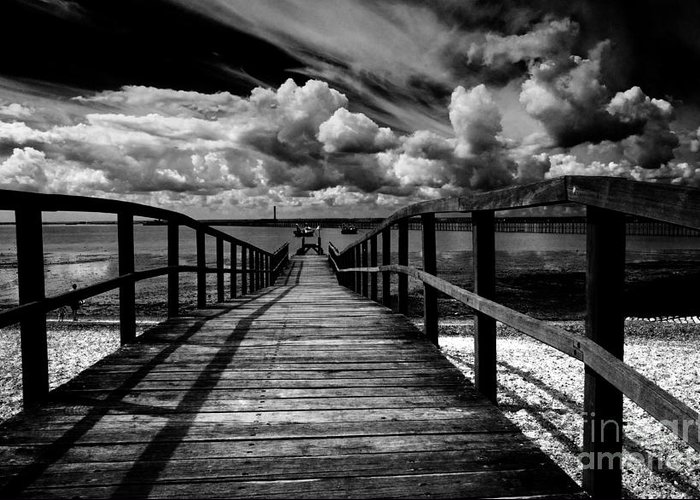 Southend On Sea Wharf Clouds Beach Sand Greeting Card featuring the photograph Wharf at Southend on Sea by Sheila Smart Fine Art Photography