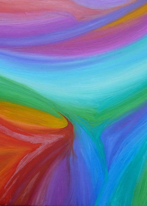 Abstract Greeting Card featuring the painting What A Colorful World by Timothy Smith