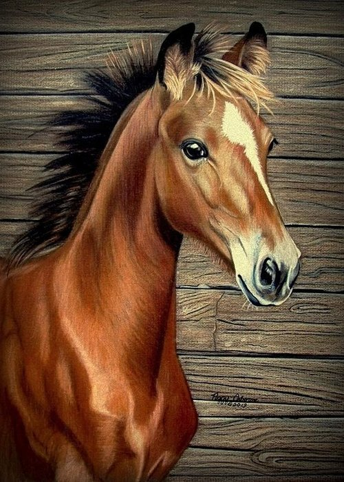 Horse Greeting Card featuring the painting What A Doll by Peggy Osborne