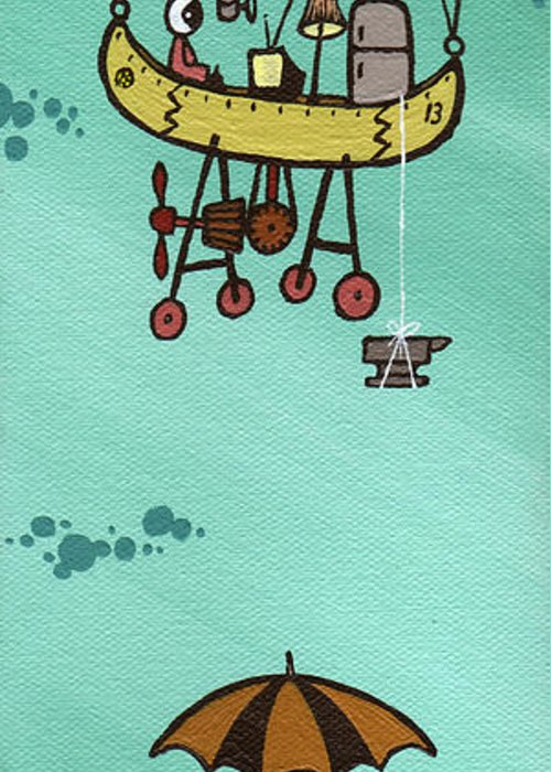 Baloon Greeting Card featuring the painting What Goes Up.... by Dan Keough