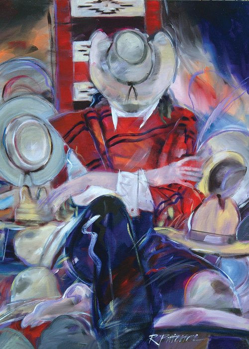 Figurative Greeting Card featuring the painting What Hat Do I Wear by Ron Patterson