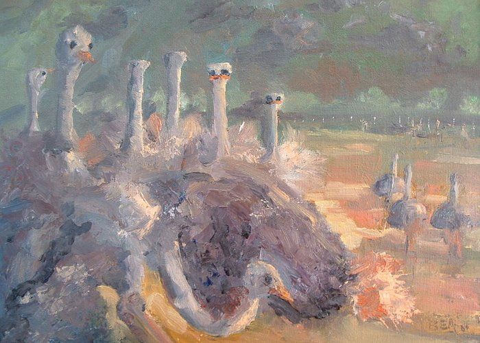 Ostrich Farm Greeting Card featuring the painting What Is He Doing Mable by Bryan Alexander