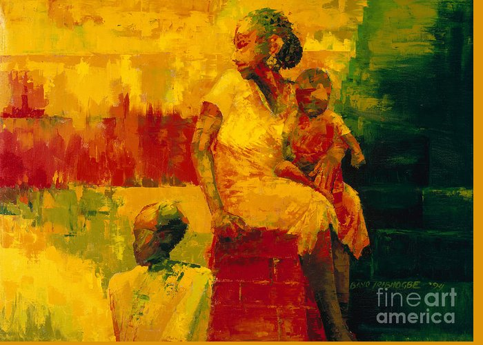 What Is It Ma? 1994 (oil On Board) By Bayo Iribhogbe (contemporary Artist) Greeting Card featuring the painting What Is It Ma by Bayo Iribhogbe