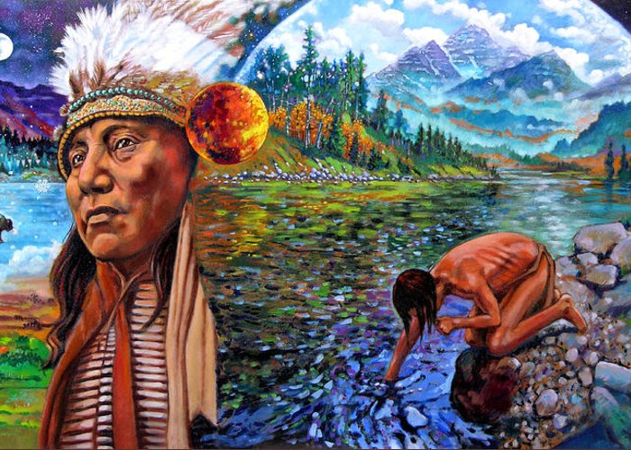 Indian Greeting Card featuring the painting What Is Life by John Lautermilch