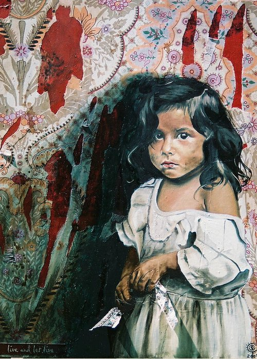 Asian Girl Greeting Card featuring the painting What Is My Worth by Teresa Carter