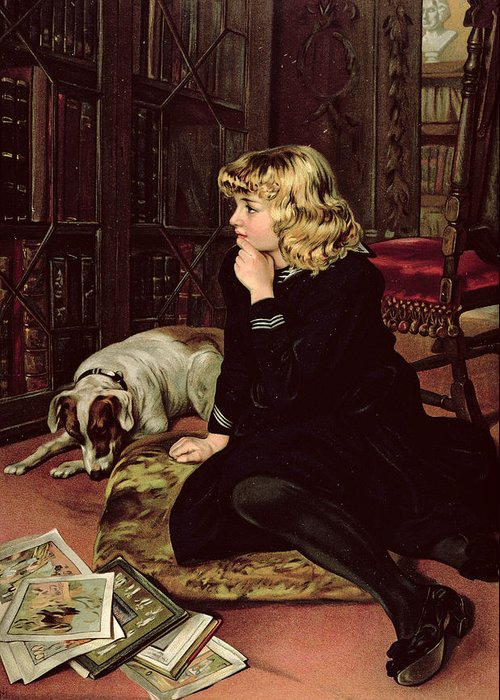 What Greeting Card featuring the painting What Shall I Read by Florence Marlowe