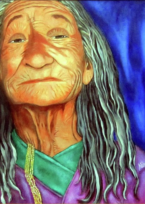 Native American Greeting Card featuring the painting What She Went Through by Alima Newton