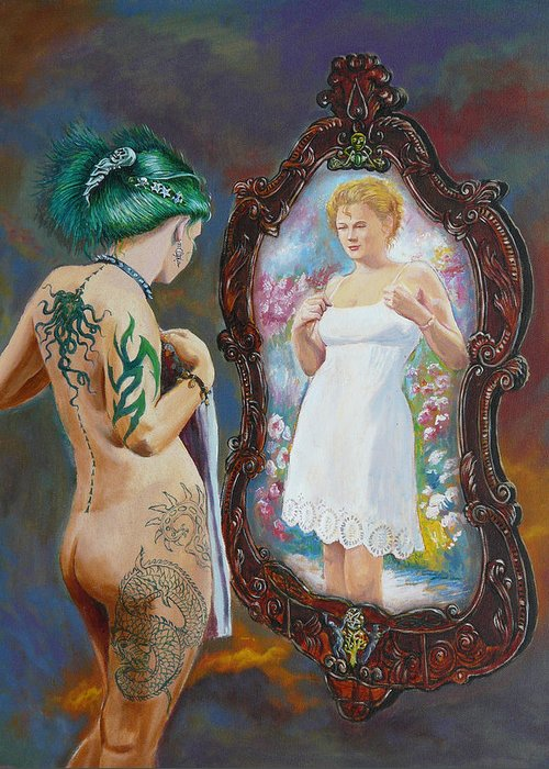 Nude Greeting Card featuring the painting What The World Sees by Tomas OMaoldomhnaigh