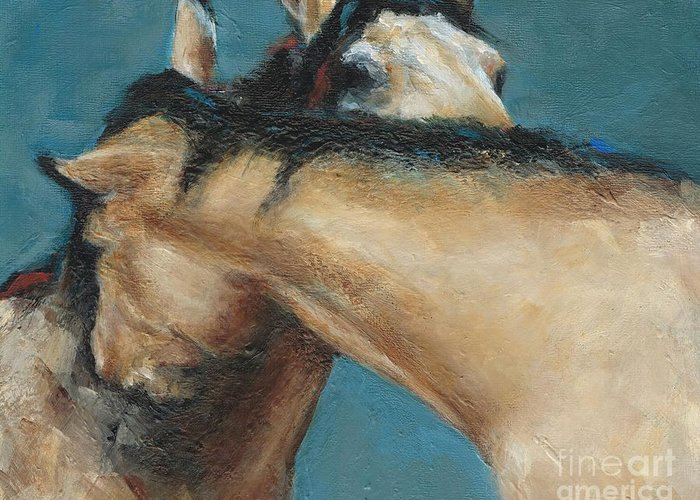 Horses Greeting Card featuring the painting What We Can All Use A Little Of by Frances Marino