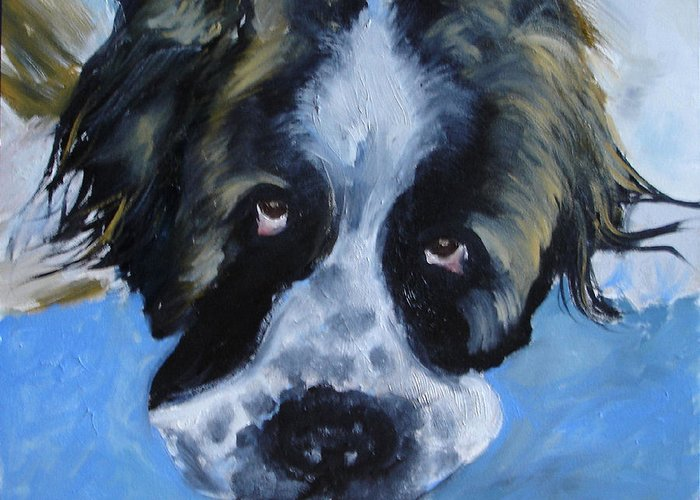 Dog Greeting Card featuring the painting Whats Up by Laura Leigh McCall