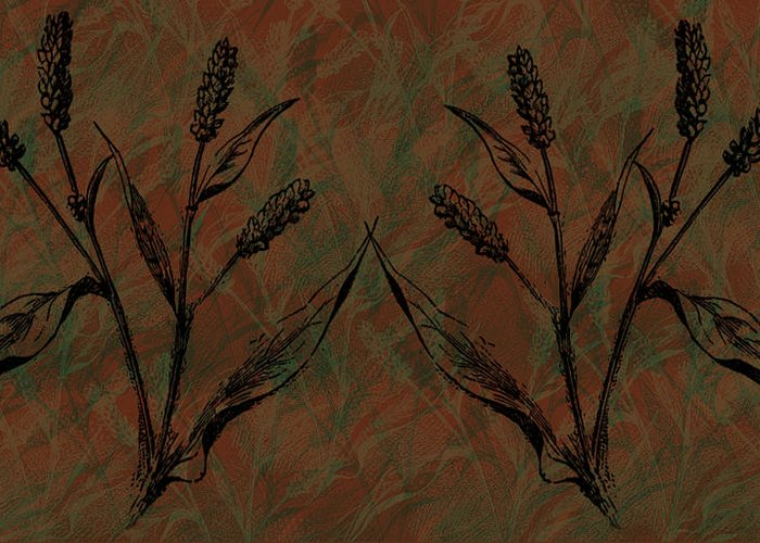 Wheat Field Greeting Card featuring the digital art Wheat Field by Evelyn Patrick