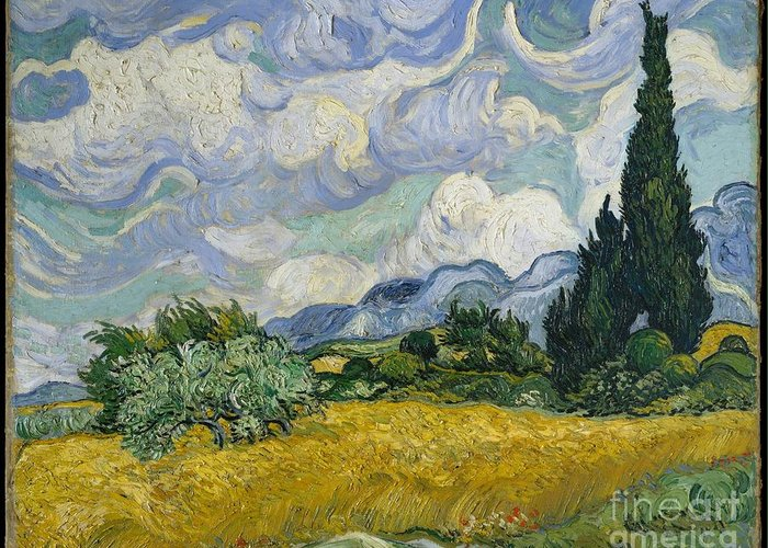 Wheat Field With Cypresses Greeting Card featuring the painting Wheat Field With Cypresses by Vincent van Gogh