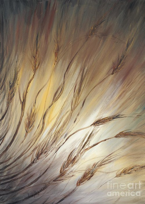 Wheat Greeting Card featuring the painting Wheat In The Wind by Nadine Rippelmeyer