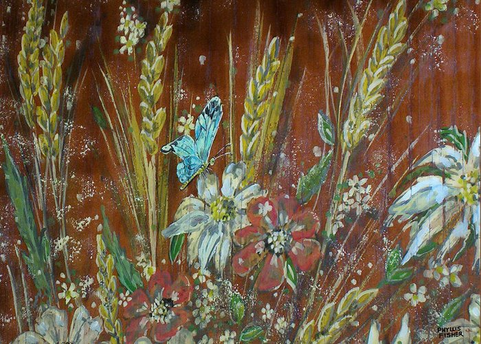 Flowers Greeting Card featuring the painting Wheat 'n' Wildflowers I by Phyllis Mae Richardson Fisher