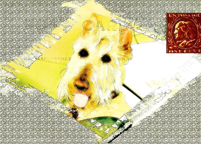 Dog Greeting Card featuring the digital art Wheaten Scottish Terrier - During Sickness And Health by Image Takers Photography LLC - Carol Haddon and Laura Morgan