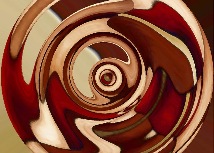 Red Greeting Card featuring the painting Wheel 4 by Vicky Brago-Mitchell