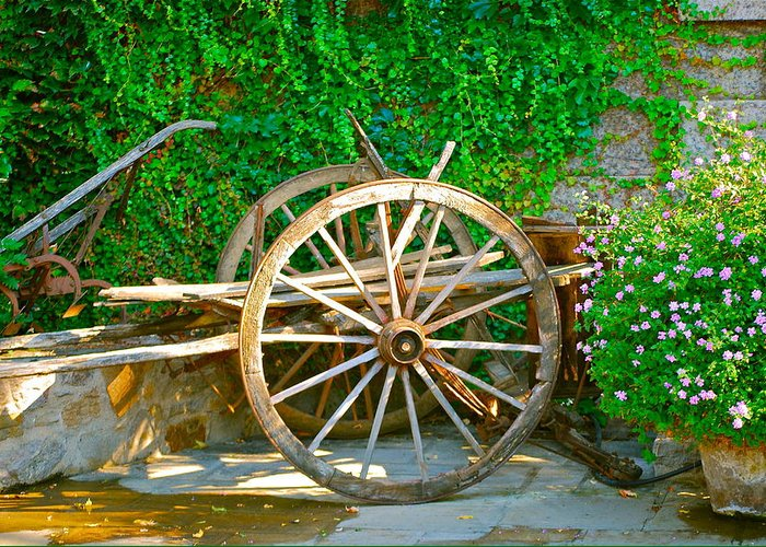 Wooden Wheel Greeting Card featuring the photograph Wheel Of Happiness by Dorota Nowak