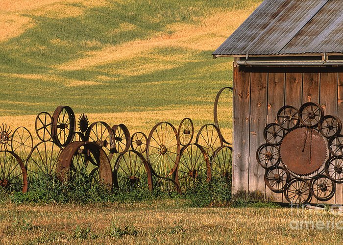 Washington Greeting Card featuring the photograph Wheels Of The Palouse by Sandra Bronstein
