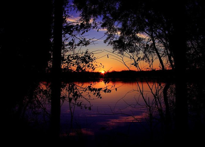 Nature Sunset Lake Darkness Shadows Sun Sky Reflection Greeting Card featuring the photograph When Darkness Comes by Mitch Cat