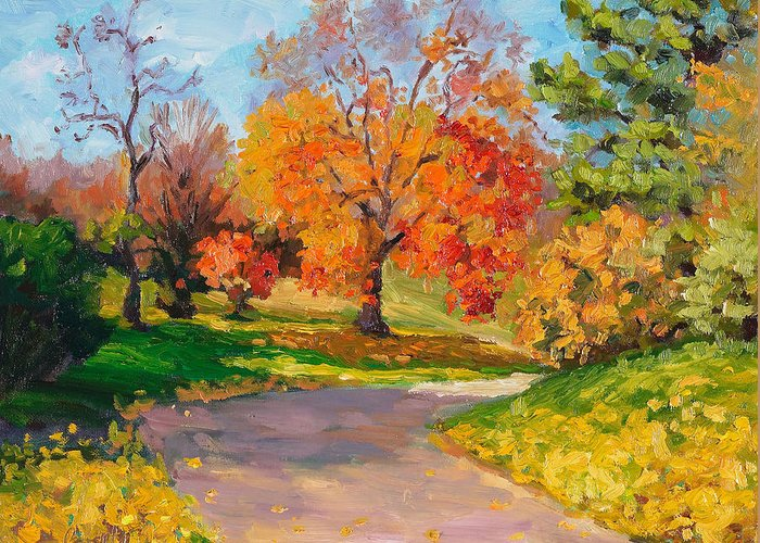 Autumn Greeting Card featuring the painting When October Goes by Kathy Busillo