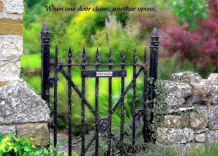 Affirmation Greeting Card featuring the photograph When One Door Closes by Jen White