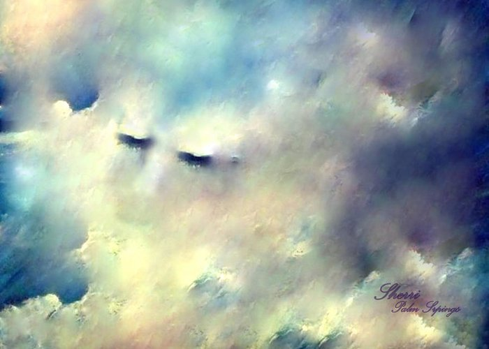 Clouds Greeting Card featuring the painting When Sleeping In The Clouds by Sherri's - Of Palm Springs