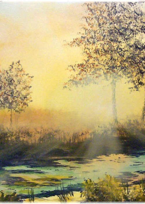 Sunset Greeting Card featuring the painting When The Sun Goes Down by Kenneth McGarity