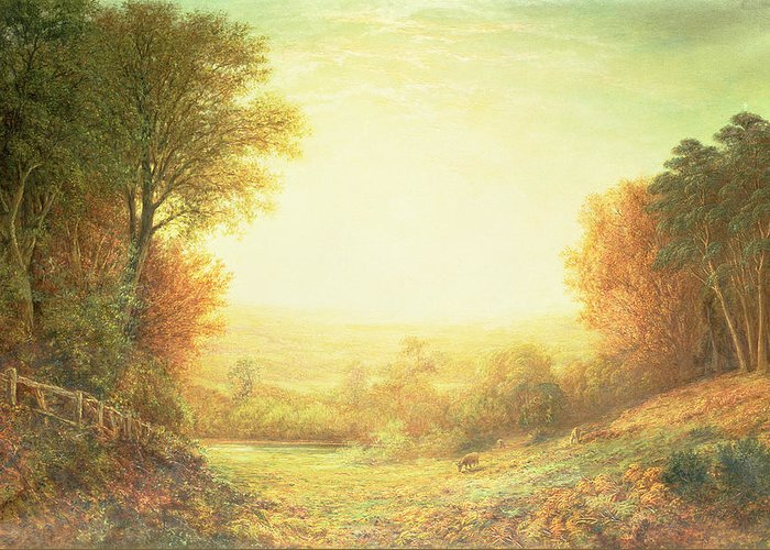 On Hampstead Heath In 1862 Or When The Sun In Splendour Fades Greeting Card featuring the painting When The Sun In Splendor Fades by John MacWhirter