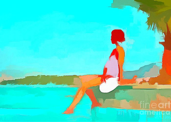 Blue Greeting Card featuring the digital art When You're Feeling Blue by Humphrey Isselt