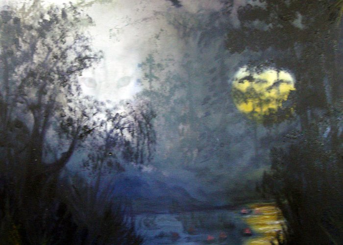 Swamp Greeting Card featuring the painting Where Are We To Go by Darlene Green