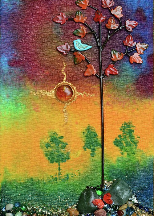 Mixed Media Landscape Greeting Card featuring the mixed media Where Fireflies Gather by Donna Blackhall