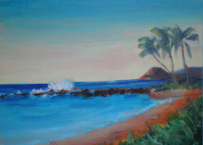 Seascape Greeting Card featuring the painting Where Heaven Meets Earth by Bryan Alexander