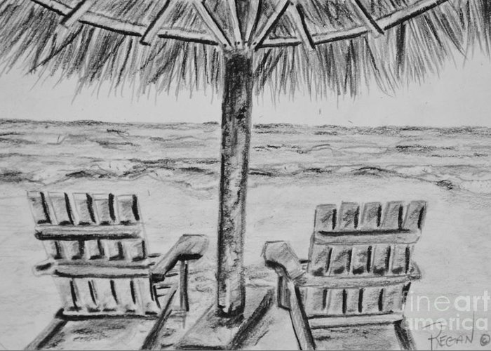 Ocean Adirondack Chairs Greeting Card featuring the drawing Where I Want to Be by Regan J Smith