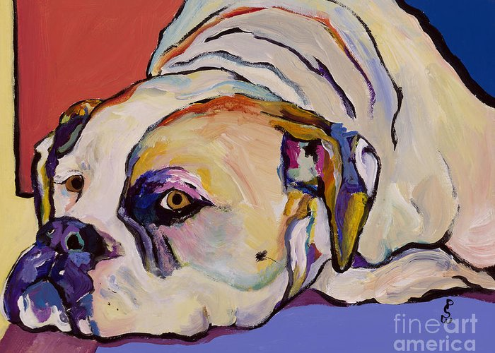 American Bulldog Greeting Card featuring the painting Where Is My Dinner by Pat Saunders-White
