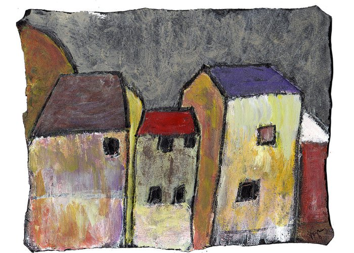 Buildings Greeting Card featuring the painting Where Once There Was by Wayne Potrafka