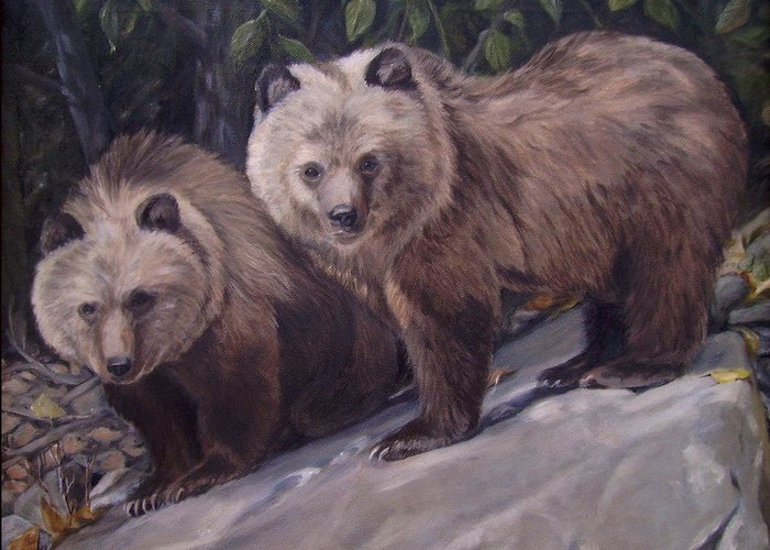 Grizzly Cubs Greeting Card featuring the painting Where S Momma by Tahirih Goffic