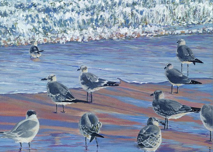 Beach Greeting Card featuring the painting Where Seagulls Play by Danielle Perry